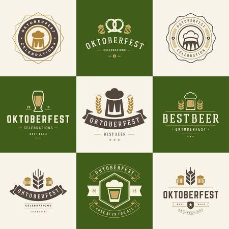 oktoberfest background: Retro style labels, badges and  set Beer festival Oktoberfest celebrations text. Vector illustration.