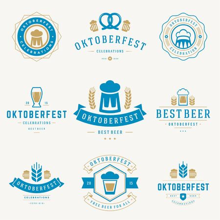 oktoberfest background: Retro style labels, badges and logos set Beer festival Oktoberfest celebrations text. Vector illustration.