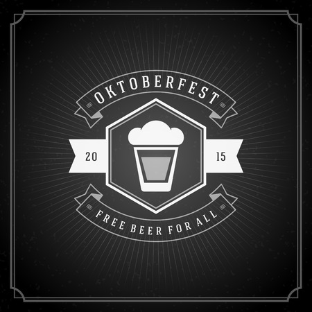 label frame: Oktoberfest vintage poster or greeting card and chalkboard background. Beer festival celebration. Vector illustration.