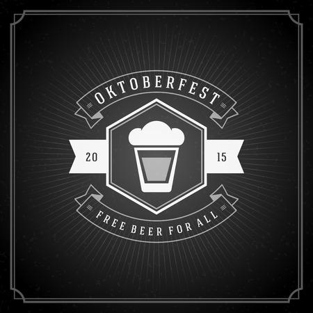 Oktoberfest vintage poster or greeting card and chalkboard background. Beer festival celebration. Vector illustration.