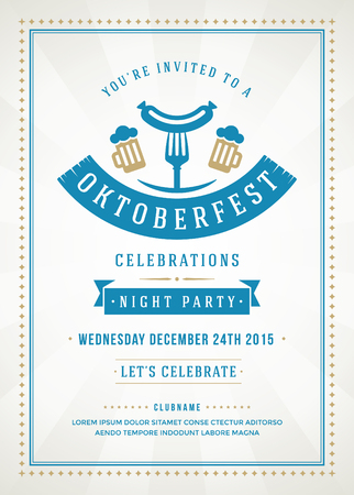 Oktoberfest beer festival celebration retro typography poster or flyer template. Vettoriali