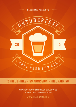 oktoberfest: Oktoberfest beer festival celebration retro typography poster or flyer template. Illustration