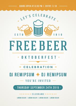 invitacion fiesta: Cerveza Oktoberfest celebración del festival cartel de la tipografía retro o plantilla de volante. Vectores