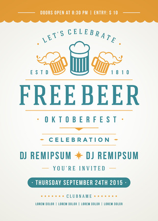 event party: Oktoberfest beer festival celebration retro typography poster or flyer template. Illustration