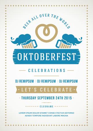 オクトーバーフェスト ビール祭り祭典レトロなタイポグラフィ ポスターやチラシのテンプレート。  イラスト・ベクター素材