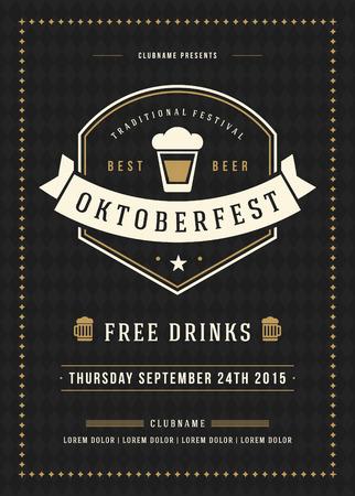 祭り: オクトーバーフェスト ビール祭り祭典レトロなタイポグラフィ ポスターやチラシのテンプレート。  イラスト・ベクター素材