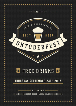 beer label design: Oktoberfest beer festival celebration retro typography poster or flyer template. Illustration