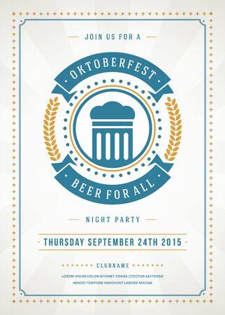 Oktoberfest beer festival celebration retro typography poster or flyer template. Illustration