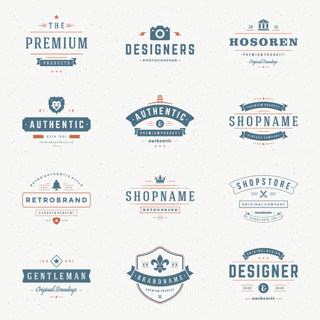 vintage badge: Retro Vintage Insignias or icon set. Vector design elements, business signs, icons, identity, labels, badges and objects. Illustration