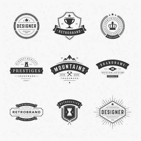 Retro Vintage Insignias or icon set. Vector design elements, business signs, icon, identity, labels, badges and objects. Ilustração