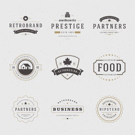 레트로 빈티지 표장 또는 아이콘을 설정합니다. 벡터 디자인 요소, 비즈니스 표지판, 아이콘, 정체성, 레이블, 배지 및 객체.