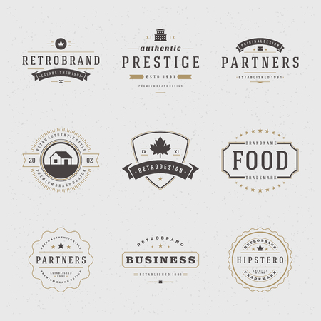 insignias: Retro Vintage Insignias o iconos. Elementos del vector de diseño, rótulos de establecimiento, icono, identidad, etiquetas, escudos y objetos.