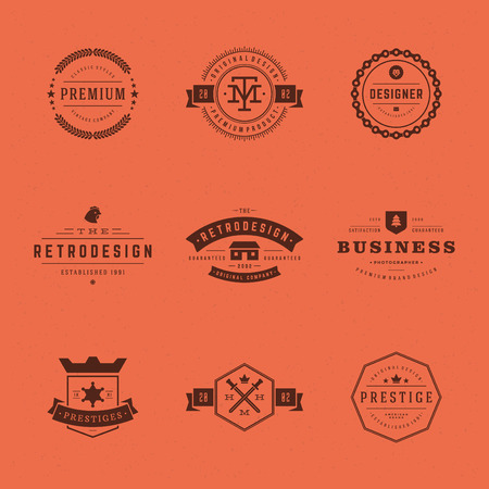 name badge: Retro Vintage Insignias or icon set. Vector design elements, business signs, icon, identity, labels, badges and objects. Illustration
