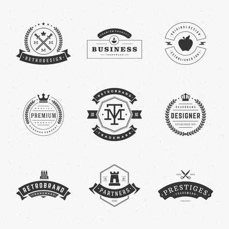 brand label: Retro Vintage Insignias or icon set. Vector design elements, business signs, icon, identity, labels, badges and objects. Illustration