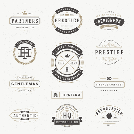 vintage banner: Retro Vintage Insignias or icon set. Vector design elements, business signs, icon, identity, labels, badges and objects. Illustration