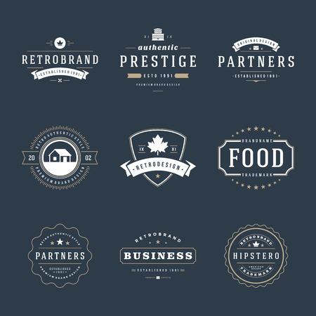 insignias: Retro Vintage Insignias o iconos. Elementos del vector de dise�o, r�tulos de establecimiento, icono, identidad, etiquetas, escudos y objetos.