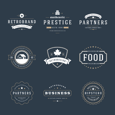 Retro Vintage Insignias or icon set. Vector design elements, business signs, icon, identity, labels, badges and objects. Иллюстрация