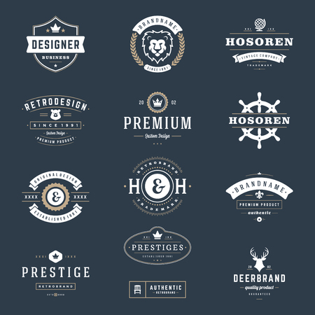 vintage label: Retro Vintage Insignias or icon set. Vector design elements, business signs, icon, identity, labels, badges and objects. Illustration