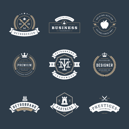 crown: Retro Vintage Insignias or icon set. Vector design elements, business signs, icon, identity, labels, badges and objects. Illustration