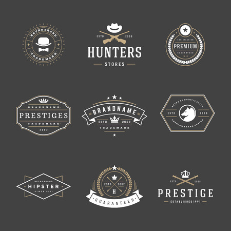 Retro Vintage Insignias or icon set. Vector design elements, business signs, icon, identity, labels, badges and objects. Vektorové ilustrace