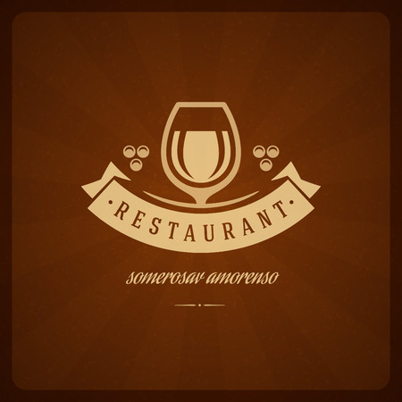italian: Restaurant Shop Design Element in Vintage Style for Logotype, Label, Badge and other design. Wine glass and Grapes retro vector illustration. Illustration