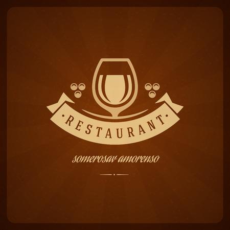 glass badge: Restaurant Shop Design Element in Vintage Style for Logotype, Label, Badge and other design. Wine glass and Grapes retro vector illustration. Illustration