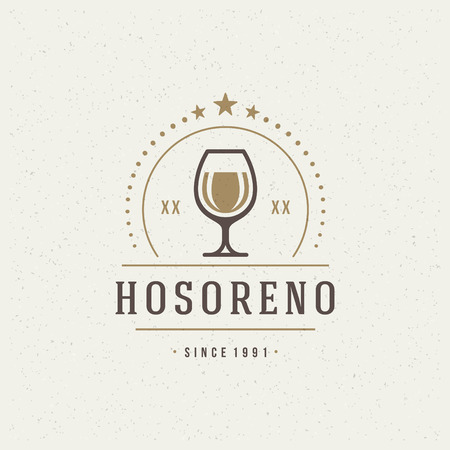glass badge: Restaurant Shop Design Element in Vintage Style for Logotype, Label, Badge and other design. Wine glass and Grapes retro vector illustration. Vectores