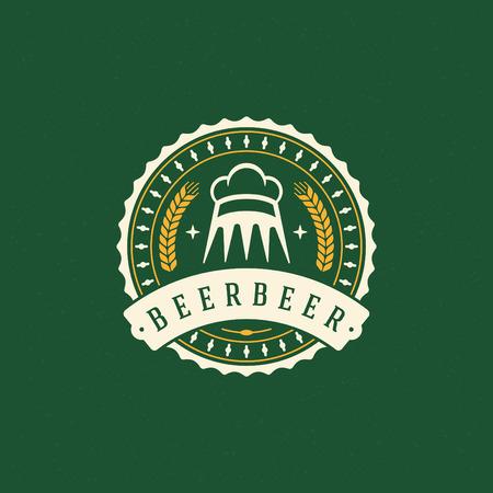 logos de empresas: Cerveza Elemento de diseño de estilo vintage para, Etiqueta, insignia y otro diseño. Cervecería retro ilustración vectorial. Vectores
