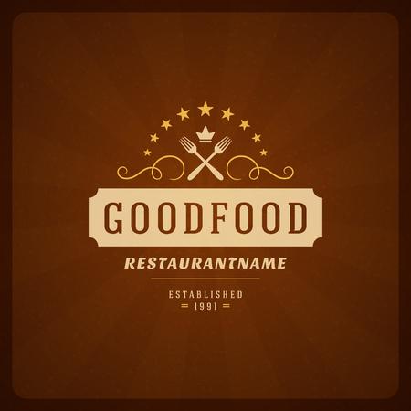 design vector: Restaurant Shop Design Element in Vintage Style for , Label, Badge and other design. Fork retro vector illustration.