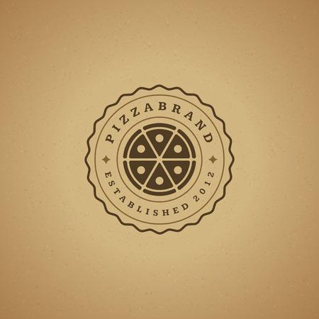 pizzeria label: Pizzeria Restaurant Design Element in Vintage Style for , Label, Badge and other design. Pizza retro vector illustration. Illustration