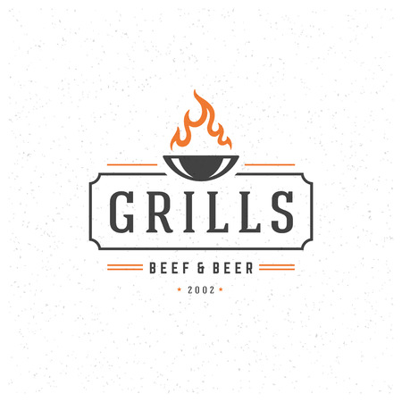 Grill Design Element in Vintage Style for , Label, Badge and other design. Fire flame retro vector illustration.