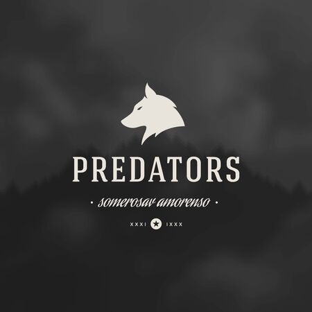 wolf: Retro Vintage Insignia or  Vector design element, business sign template wolf face.