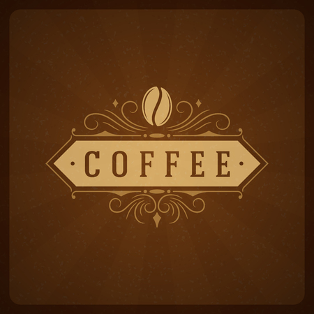 Coffee Shop  Design Element in Vintage Style for , Label, Badge and other design. Bean retro vector illustration. Ilustração