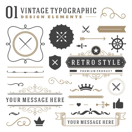 Retro vintage typographic design elements. Labels ribbons, logos symbols, crowns, calligraphy swirls, ornaments and other. Vectores