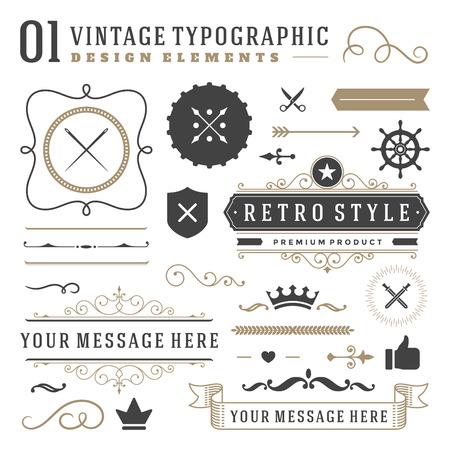 Retro vintage typografisch ontwerp elementen. Etiketten linten, logo's symbolen, kronen, kalligrafie wervelingen, ornamenten en andere. Stockfoto - 45041261