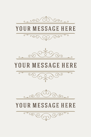 Vintage vector swirls ornaments decorations design elements and place for text. Flourishes calligraphic combinations retro design for Invitations, Posters, Badges,  and other design.