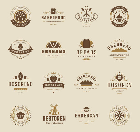 cooking: Bakery Shop , Badges and Labels Design Elements set. Bread, cake, cafe vintage style objects retro vector illustration.