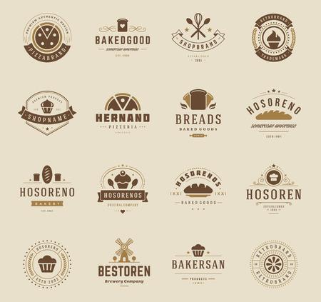 cooking eating: Panadería, insignias y etiquetas de elementos de diseño. Pan, pasteles, estilo de café de la vendimia objetos retro ilustración vectorial.
