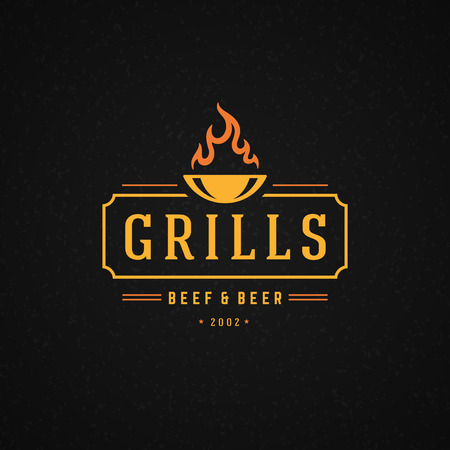 barbecue: Grill Design Element in Vintage Style for Logotype, Label, Badge and other design. Fire flame retro vector illustration.