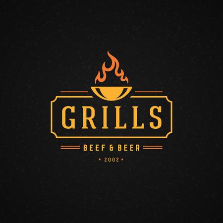 logotipos de restaurantes: Grill elemento de diseño de estilo vintage para logotipo, etiqueta, insignia y el otro diseño. Llama del fuego ilustración retro vector. Vectores