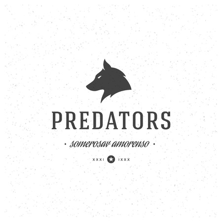 insignia: Retro Vintage insignias o logotipo Vector elemento de diseño, muestra negocio plantilla lobo cara.