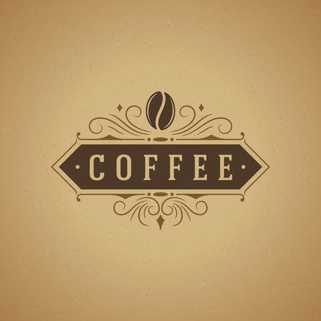 ロゴ、ラベル、バッジその他のデザインのビンテージ スタイルのコーヒー ショップのロゴ デザイン要素。Bean のレトロなベクター イラストです。