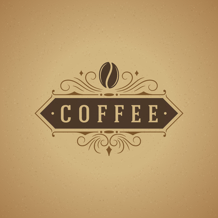 Design Café Shop Logo Element dans le style vintage pour Logotype, étiquette, un insigne et un autre dessin. Bean rétro illustration vectorielle. Banque d'images - 45644483