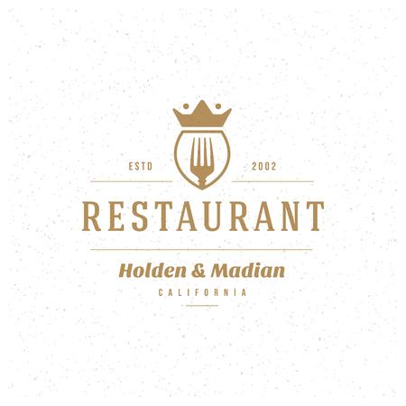 pizzeria label design: Restaurant Shop Design Element in Vintage Style for Logotype, Label, Badge and other design. Fork retro vector illustration.