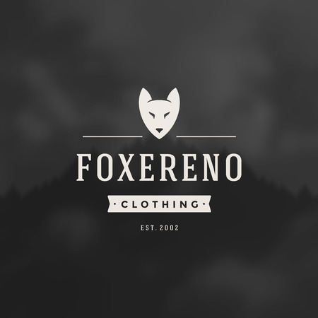 fox face: Retro Vintage Insignia or Logotype Vector design element, business sign template fox face.