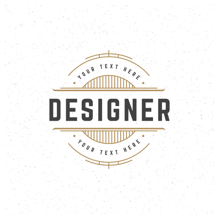 Designer Design Element in Vintage Style for Logotype, Label, Badge and other design. Line art Retro vector illustration.