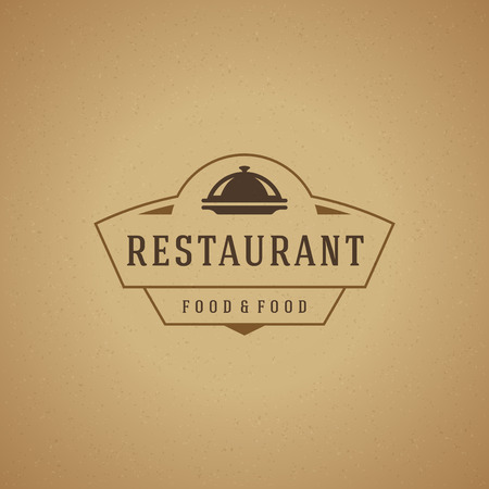 cloche: Restaurant Cloche Design Element in Vintage Style for Logotype, Label, Badge and other design. Tray retro vector illustration.