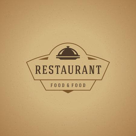 ristorante: Ristorante Cloche elemento di design in stile vintage per logo, etichetta, distintivo e altri design. Vassoio retrò illustrazione vettoriale.