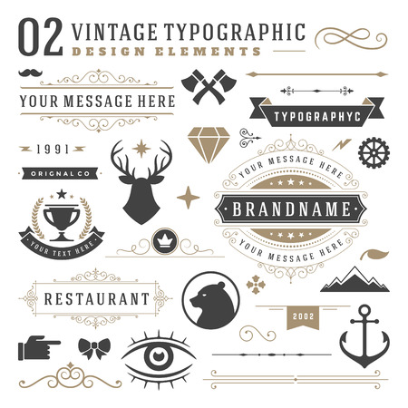 Retro vintage typographic design elements. Arrows, labels ribbons, logos symbols, crowns, calligraphy swirls ornaments and other.