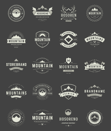 summit: Set Mountains Logos, Badges and Labels Vintage Style.  Design elements retro vector illustration.